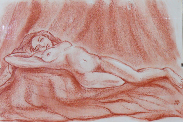 Pose sensuelle - Drawing,  11.8x16.5 in, ©2019 by Michèle BAYLET-BRUNET -                                                                                                                                                                                                                          Figurative, figurative-594, Nude, nu