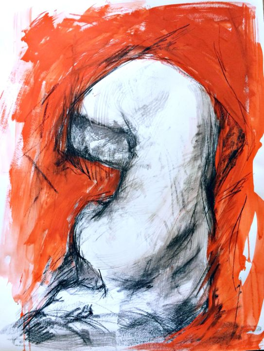 Nude  woman in black&red - Drawing,  25.6x19.7x0.4 in, ©2020 by Magdalena Weber -                                                                                                                                                                                                                                                                                                                                                                                                                                                                                                                                                                                                                                      Figurative, figurative-594, Nude, figurative charcoal drawing, nude charcoal drawing, original nude art, woman  art, art  deco, nude  art, contemporary art, wall  art, wedding  gift, art for  bedroom