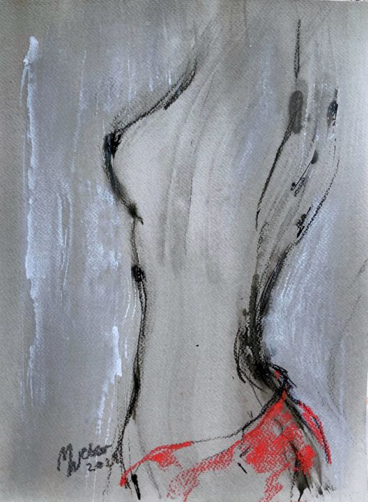 """Painting titled """"Female Nude Sketch"""" by Magdalena Weber, Original Art, Charcoal"""