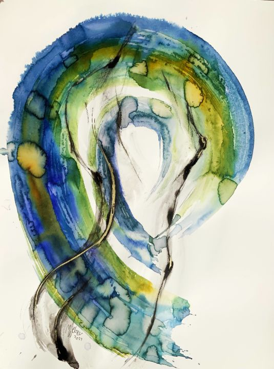 """Painting titled """"The Water Drop"""" by Magdalena Weber, Original Art, Watercolor"""