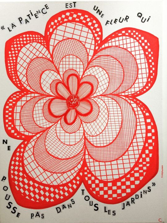 My red flower - Drawing,  61x46x2 cm ©2019 by ma2moizelC -                                                            Abstract Art, Cotton, Flower, art, peinture, dessin, graphique, fleur, rouge, posca