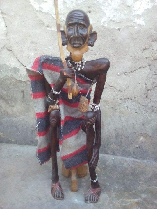 Remarkable Wooden African Old Man Sitting On 3 Legged Stool Sculpture Ocoug Best Dining Table And Chair Ideas Images Ocougorg