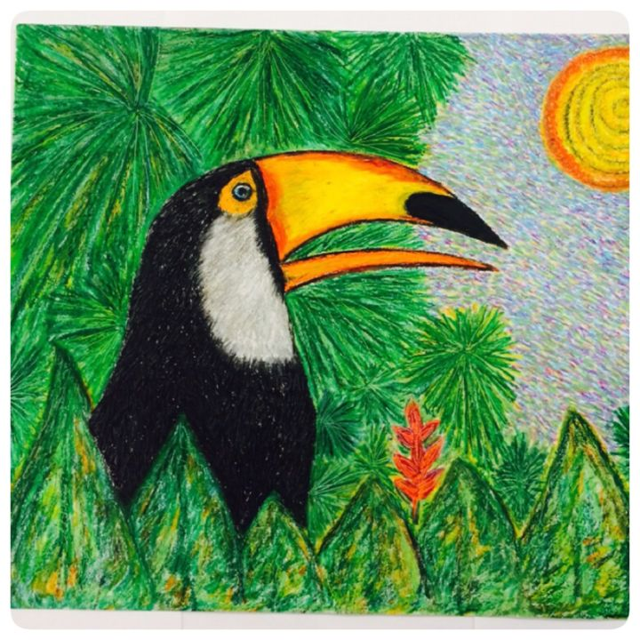 """Painting titled """"Tucan"""" by Mabele Bemfeito, Original Art, Pastel"""