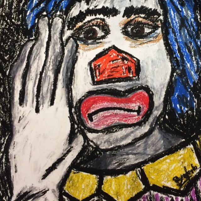 """Painting titled """"Clown I"""" by Mabele Bemfeito, Original Art, Pastel"""