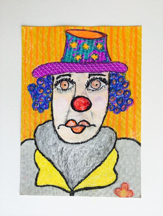 """Painting titled """"Clown II"""" by Mabele Bemfeito, Original Art, Pastel"""