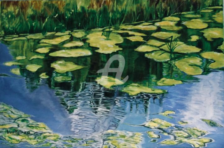 Reflets à Monceau - Painting,  40x60x3 cm ©2017 by Busellato MA -                                                        Figurative Art, Canvas, Water