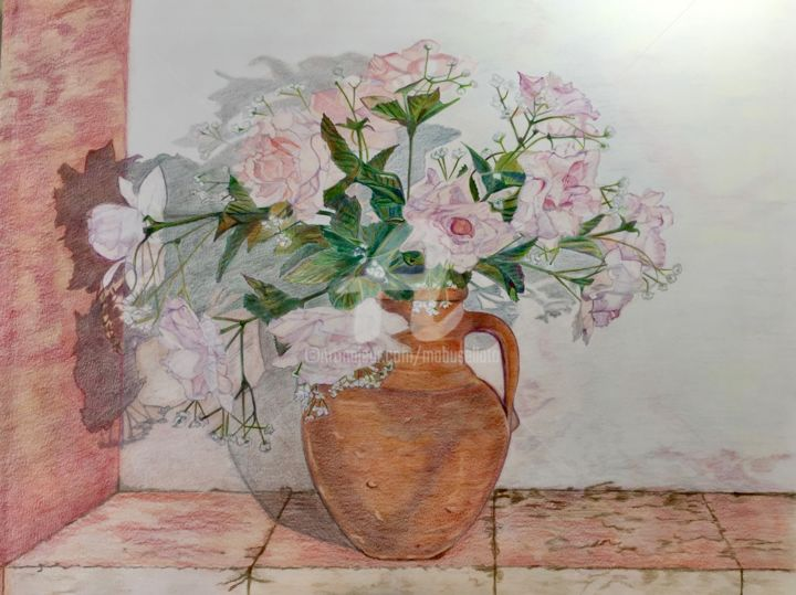 """Drawing titled """"Roses printanières"""" by Busellato Ma, Original Art, Pencil"""