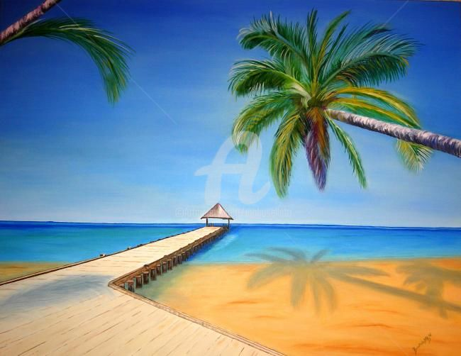 Plage aux Seychelles - Painting,  80x90 cm ©2011 by Busellato MA -            Plage, Seychelles