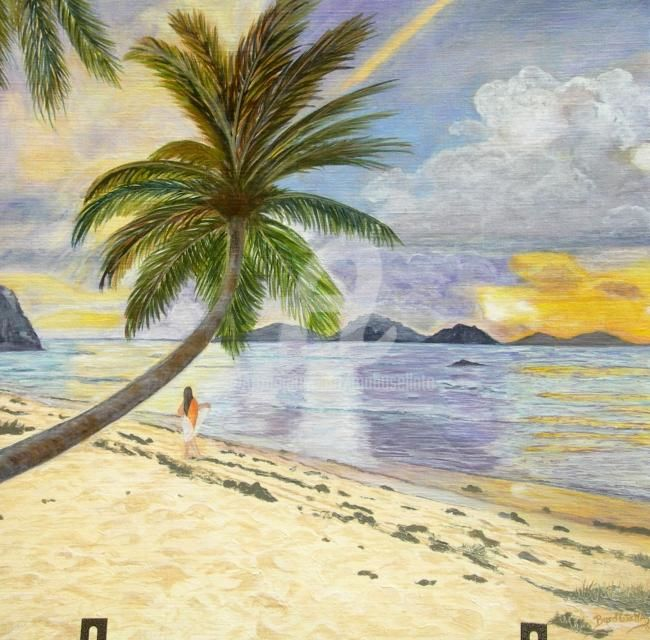 Solitude aux Seychelles - Painting,  60x60 cm ©2011 by Busellato MA -