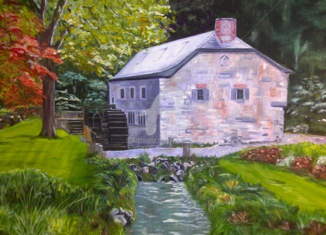 Le Vieux Moulin d'Onoz - Painting,  19.7x27.6 in, ©2011 by Busellato Ma -