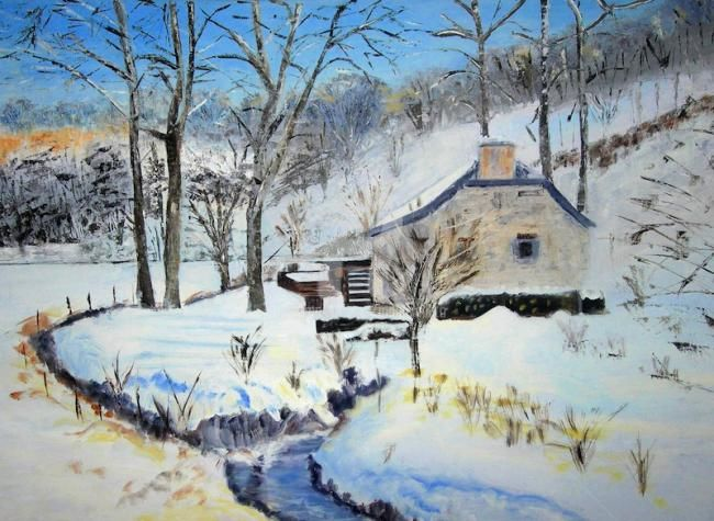Le vieux Moulin d'Onoz - Painting,  70x50 cm ©2011 by Busellato MA -
