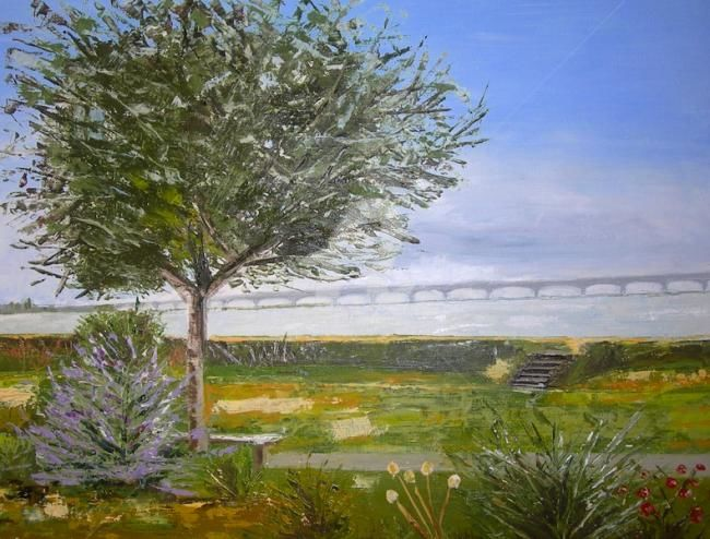 Le pont d'Oleron (couteau) - Painting,  40x30 cm ©2011 by Busellato MA -