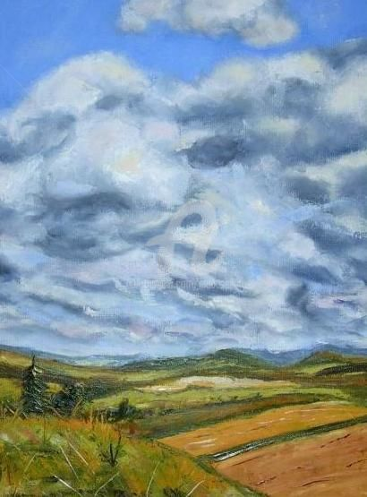 Ciel d'orage (couteau) - Painting,  19.7x15.8 in, ©2011 by Busellato Ma -
