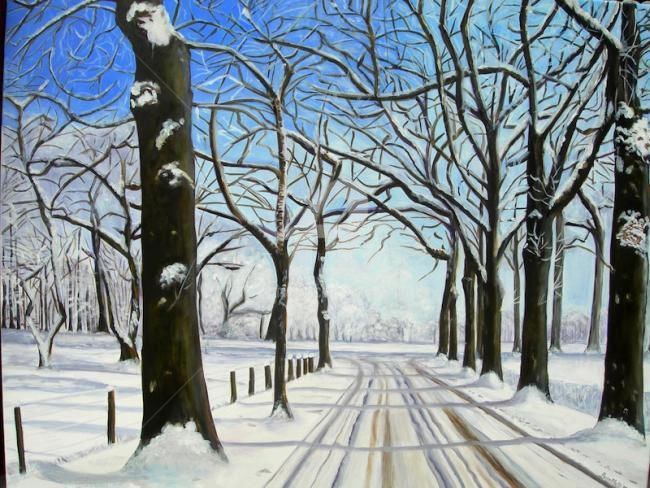 Promenade hivernale - Painting,  90x70 cm ©2011 by Busellato MA -