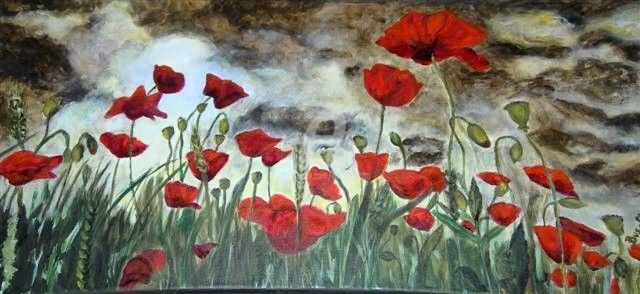 Coquelicots 1 - Painting,  11.8x23.6 in, ©2011 by Busellato Ma -