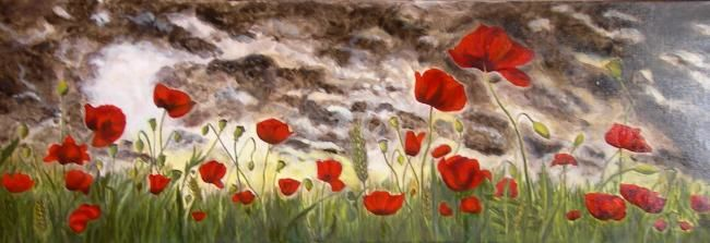 Coquelicots 2 - Painting,  120x40 cm ©2011 by Busellato MA -            C