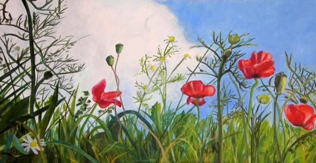 Coquelicots 3 - Painting,  60x30 cm ©2011 by Busellato MA -