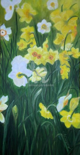 26._Jonquilles___Narcisses.JPG - Painting,  30x60 cm ©2011 by Busellato MA -            J