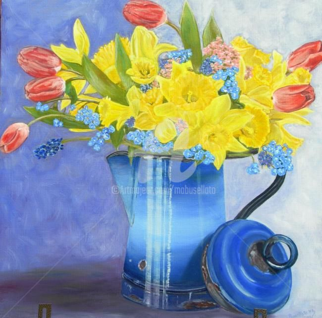 Jonquilles & tulipes 2 - Painting,  19.7x19.7 in, ©2011 by Busellato Ma -                                                              Jonquilles
