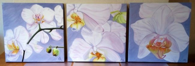 Triptyque orchidées 2 (3x 40x40) - Painting,  15.8x15.8 in, ©2012 by Busellato Ma -                                                                                                                                                                          Figurative, figurative-594, Orchidées