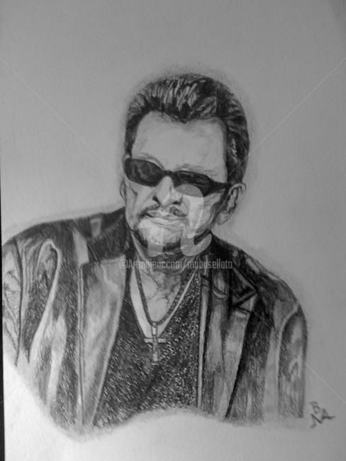 Johnny ! - Drawing,  40x30 cm ©2012 by Busellato MA -                            Black and White, Johnny Halliday