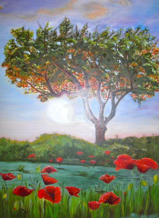 L'arbre (The tree) - Painting,  27.6x19.7 in, ©2015 by Busellato Ma -                                                                                                                                                                                                                                                                                                              Figurative, figurative-594, Arbre, coquelicots, soleil, couchant
