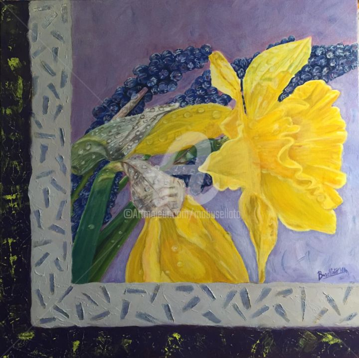 jonquilles-et-muscaris-d-apres-une-photo-de-don-paulson-50x50cm.jpg - Painting,  50x50x3 cm ©2012 by Busellato MA -                                                            Figurative Art, Wood, Flower, Fleur, peinture, jonquilles, toile, huile, printemps, muscaris, décoration