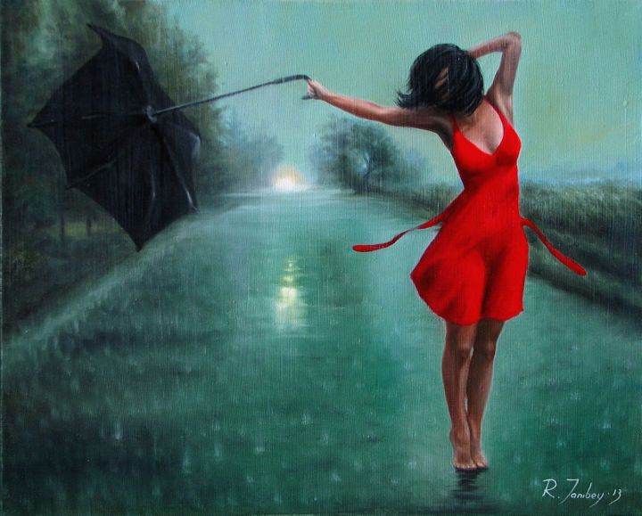 Dancing in the rain - © 2013 dancing, woman, girl, rain, road, evening Online Artworks