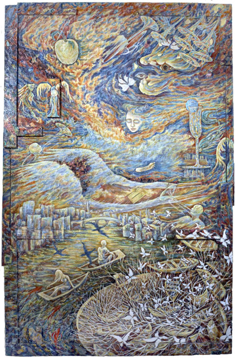 Tour de manège - Painting,  90x136 cm ©2008 by Macha Volodina -                                                                                                                                                                                            Symbolism, Other, Wood, Paper, Fabric, Aerial, Outer Space, Water, Fantasy, Nature, Landscape, Spirituality, Time, Travel