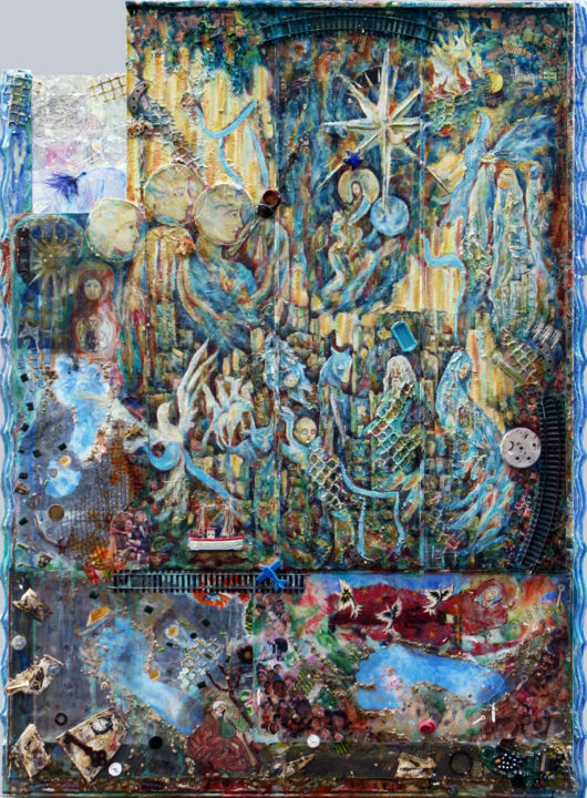 Etoile de Berger - Painting,  110x75 cm ©2012 by Macha Volodina -                                                                                                                    Contemporary painting, Wood, Paper, Plastic, Fantasy, History, Religion, Spirituality