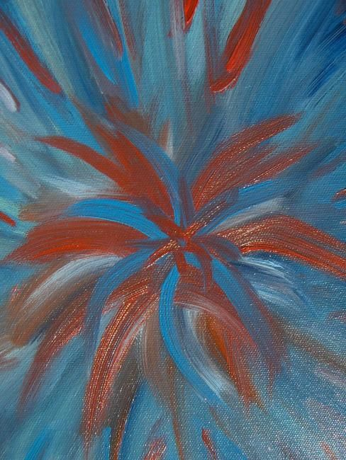 Passion florale - Painting,  11.8x9.8 in, ©2007 by Laurence Machils -