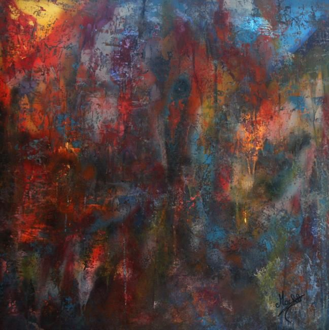 Abstract color - Painting,  39.4x39.4 in, ©2008 by Laurence Machils -