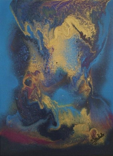 Chimère - Painting,  24x18 cm ©2008 by Laurence Machils -
