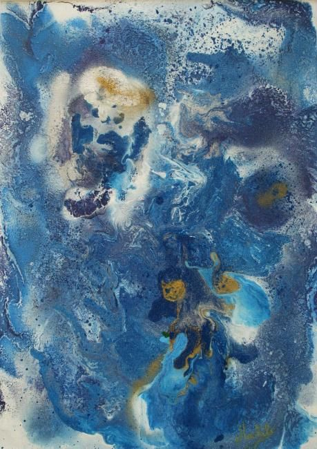 Blue dream - Painting,  30x23 cm ©2008 by Laurence Machils -