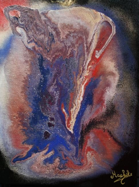 Déchirure - Painting,  9.5x7.1 in, ©2009 by Laurence Machils -