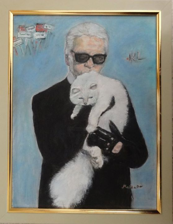 karl-et-choupette - Painting, ©2017 by MaClaDe -                                                                                                          Karl, Choupette