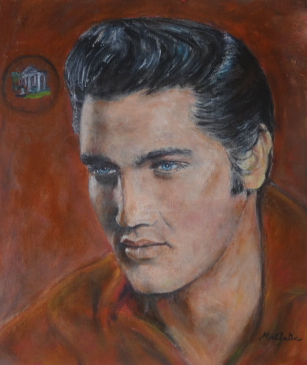 Portrait d'Elvis, le King - Painting,  15.8x11.8 in, ©2017 by MaClaDe -                                                                                                                                                                                                                                                                                                                  Expressionism, expressionism-591, Portraits, Elvis;, Presley, King