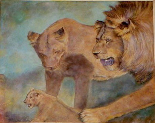 famille de lions - Painting ©2000 by MaClaDe -                                                        Figurative Art, Canvas, Animals