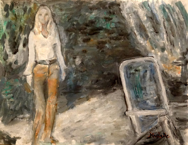 La Madrague - Painting,  9.1x11.8 in, ©2016 by Maclade -                                                                                                                                                                          Expressionism, expressionism-591, Performing Arts