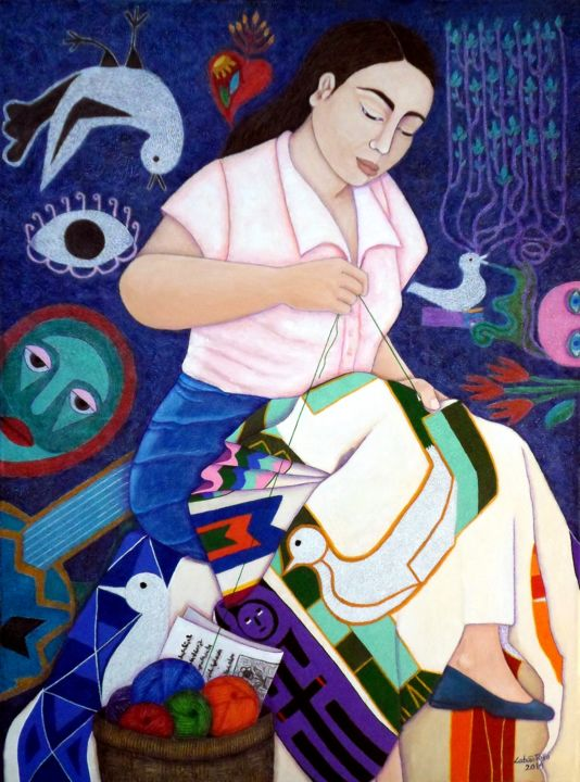 """Painting titled """"Embroidering life"""" by Madalena Lobao-Tello, Original Art,"""
