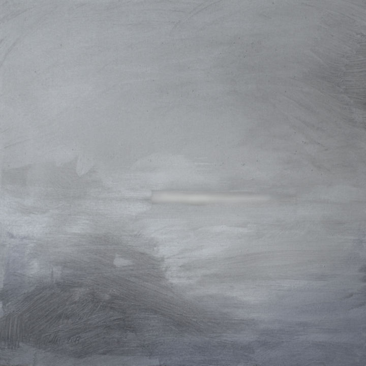 Storm. oi/can 60x60 cm - Painting,  23.6x23.6 in, ©2013 by MADARA GULBIS -                                                                                                                                                                          Abstract, abstract-570, sky; clouds; grey; sea; landscape; silver; mood; feelings; summer; madara gulbis; painting