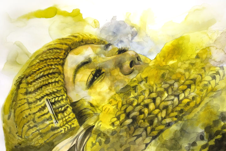 Yellow winter - Painting,  18.9x26.8 in, ©2018 by Madeline Berger (MadB) -                                                                                                                                                                                                                                                                                                                                                                                                                                                                                                  Figurative, figurative-594, Portraits, aquarelle, encre, watercolor, ink, jaune, yellow, portrait