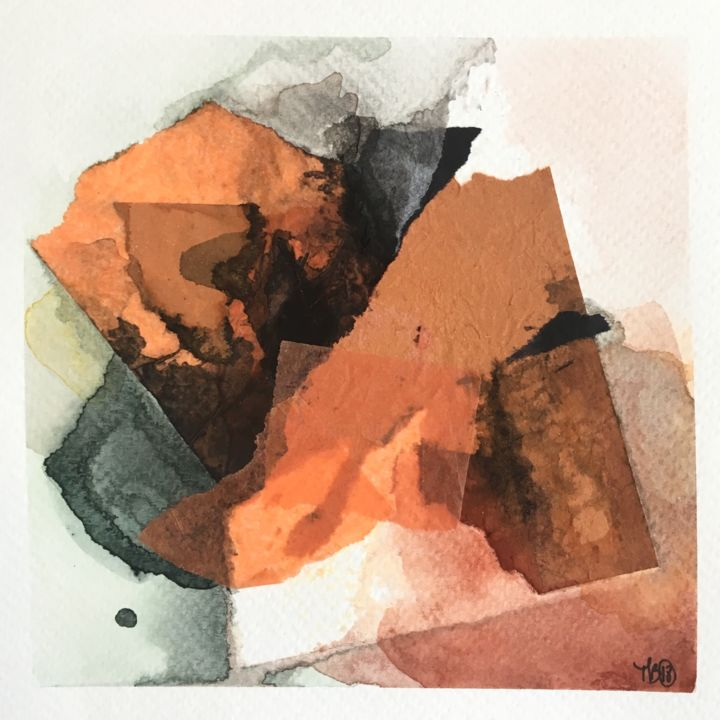Little abstract orange 2/5 - Painting,  5.1x5.1 in, ©2018 by Madeline Berger (MadB) -                                                                                                                                                                                                                                                                                                                                                              Abstract, abstract-570, Abstract Art, aquarelle, art, creation, abstrait