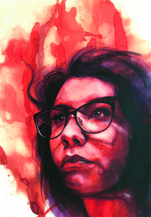 Femme rouge - Painting,  25.6x18.1 in, ©2019 by Madeline Berger (MadB) -                                                                                                                                                                                                                                                                                                                                                              Figurative, figurative-594, Portraits, femme, portrait, rouge, aquarelle