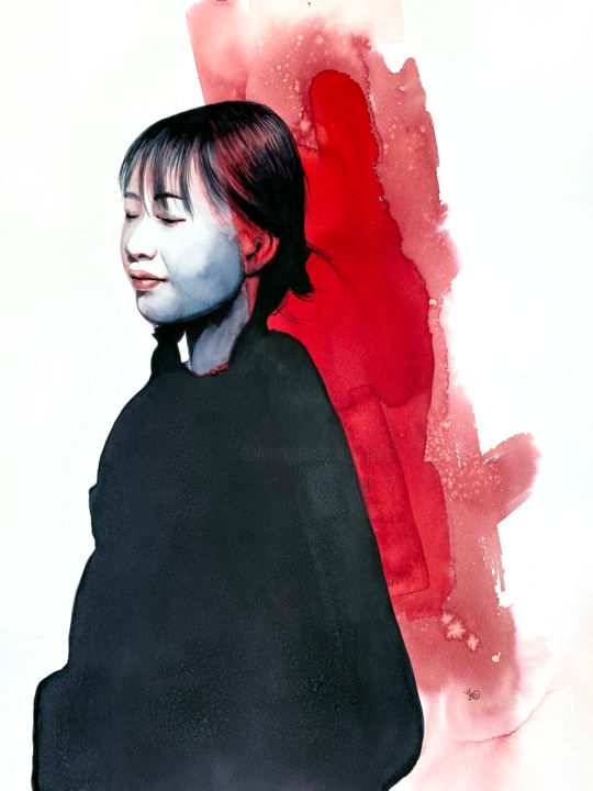 Portrait Painting, watercolor, figurative, artwork by Madeline Berger (MadB)