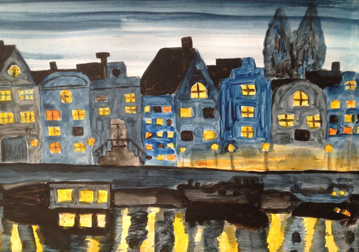Night in Amsterdam - Painting,  40x50 cm ©2015 by The Planet Malisa -                                                                                                                                                                                                                                    Expressionism, Illustration, Impressionism, Realism, Symbolism, Paper, Architecture, Boat, Cities, Cityscape, Colors, Culture, Home, Light, Places, Tree, Water, Amsterdam, night, blue, yellow, house, painting, art, watercolour, bridge