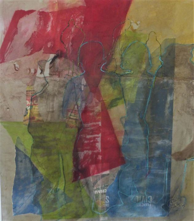 """Painting titled """"sans"""" by Eve Domy, Original Art, Collages"""