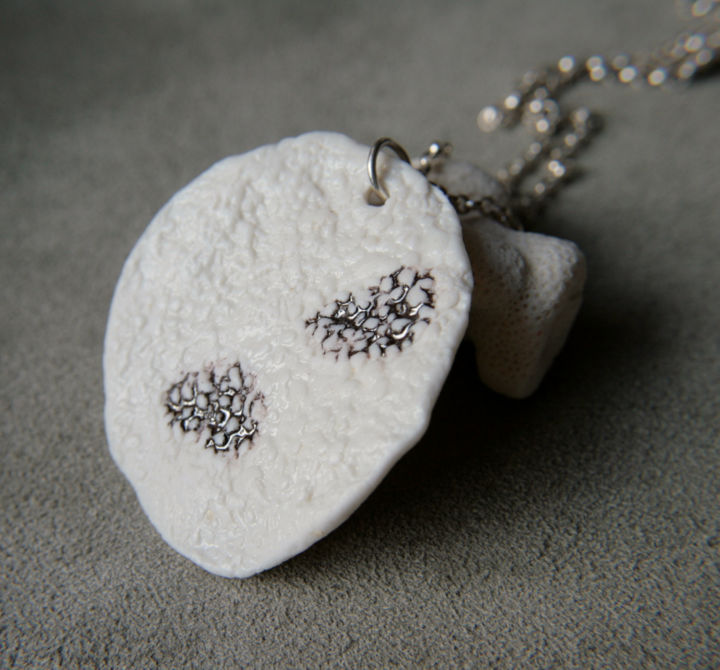 Necklace pendant with organic texture - Design, ©2019 by decorella -                                                                                                                                                                                                                                                                                                                                                                                                                                                      Minimalism, minimalism-606, Black and White, Fashion, necklace, pendant, porcelain, handmade, sterling silver