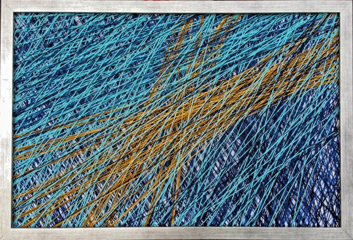 Blask - Textile Art,  24x35.4x1.6 in, ©2016 by Magdalena Kulawik -                                                                                                                                                                                                                          Abstract, abstract-570, Other, Colors