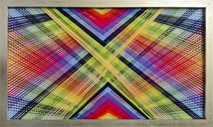 ColourX - Textile Art,  19.7x37.4x1.6 in, ©2017 by Magdalena Kulawik -                                                                                                                                                                                                                          Abstract, abstract-570, Other, Colors